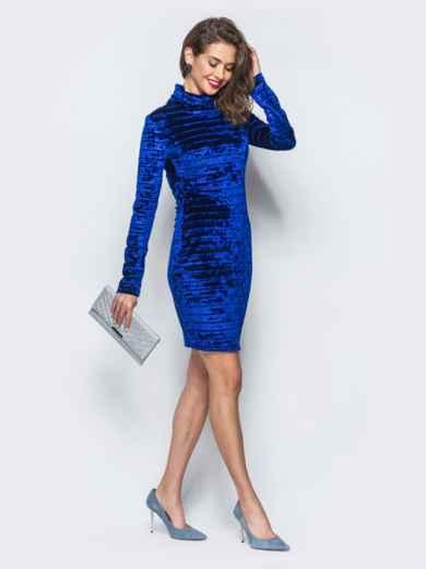 Велюровое платье синего цвета с воротником-хомут - 18045, фото 2 – интернет-магазин Dressa