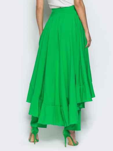 Юбка-палаццо с оборкой на юбке зелёная - 14378, фото 2 – интернет-магазин Dressa