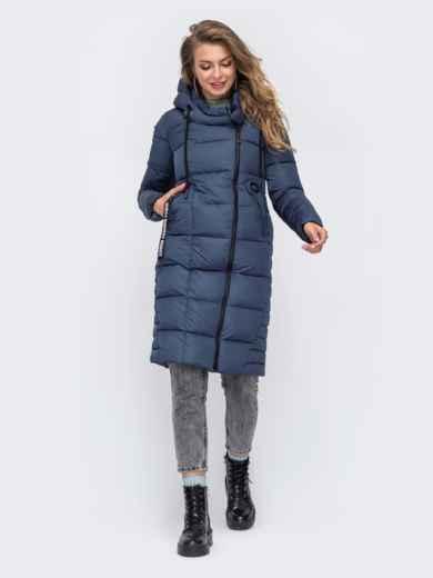 Зимняя куртка с капюшоном синяя 50666, фото 2