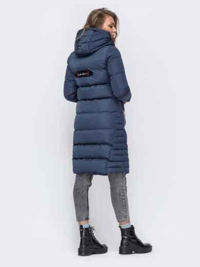 Зимняя куртка с капюшоном синяя 50666, фото 3