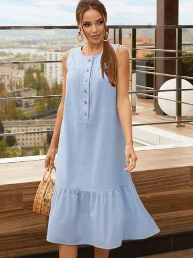 Голубое платье-трапеция из хлопка без рукавов 54191, фото 1