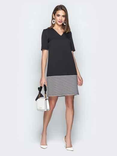 Чёрное платье прямого кроя с контрастной вставкой 21037, фото 1