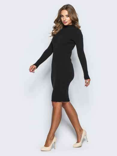 Черное трикотажное платье в рубчик с длинными рукавами - 15914, фото 2 – интернет-магазин Dressa