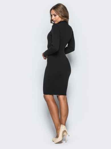 Черное трикотажное платье в рубчик с длинными рукавами - 15914, фото 3 – интернет-магазин Dressa