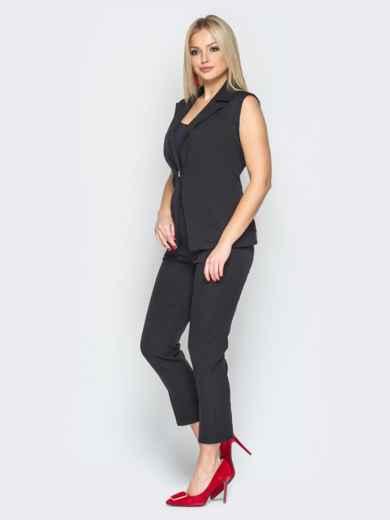 Чёрный комплект из жилета с гипюровой спинкой и брюк - 19611, фото 2 – интернет-магазин Dressa
