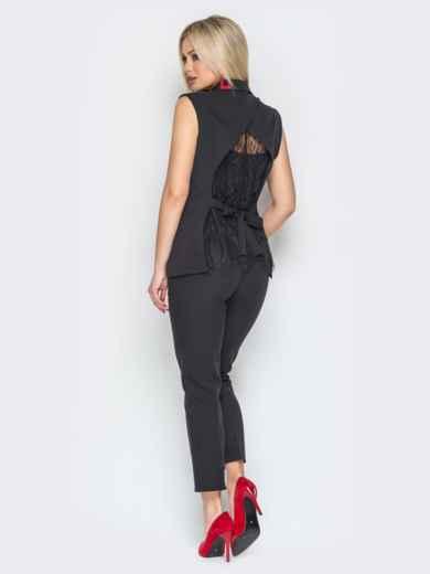 Чёрный комплект из жилета с гипюровой спинкой и брюк - 19611, фото 3 – интернет-магазин Dressa