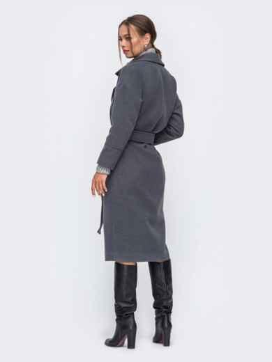 Демисезонное пальто со спущенной линией плеч серое 50254, фото 2