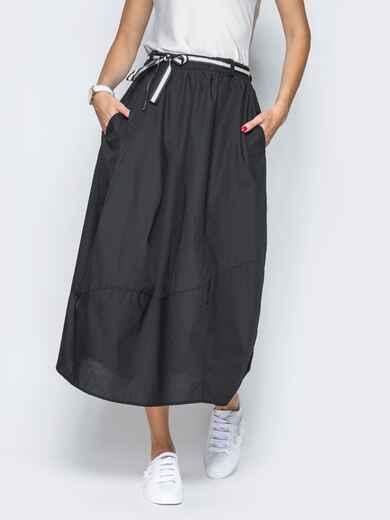 Хлопковая юбка чёрного цвета с карманами 21766, фото 1