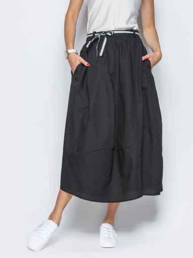 Хлопковая юбка чёрного цвета с карманами - 21766, фото 2 – интернет-магазин Dressa