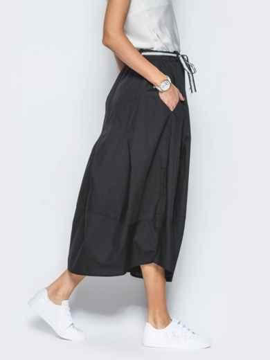 Хлопковая юбка чёрного цвета с карманами - 21766, фото 3 – интернет-магазин Dressa