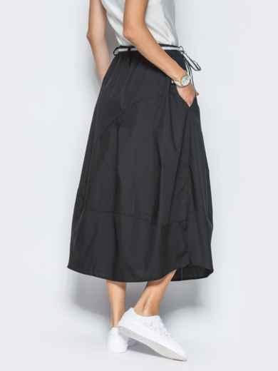 Хлопковая юбка чёрного цвета с карманами - 21766, фото 4 – интернет-магазин Dressa
