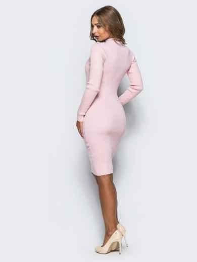 b4f4179f5288 Нежно-розовое трикотажное платье в рубчик с длинными рукавами - 15915, фото  2 –