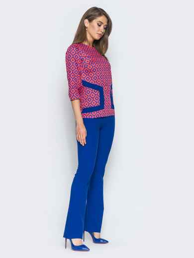 Оранжево-синий комплект с расклешенными брюками - 14473, фото 1 – интернет-магазин Dressa