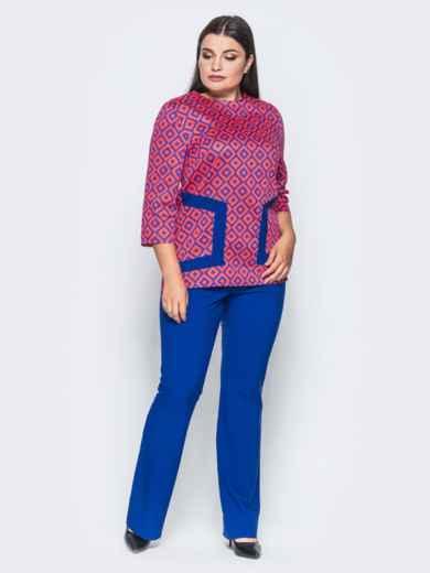 Оранжево-синий комплект с расклешенными брюками - 14473, фото 3 – интернет-магазин Dressa