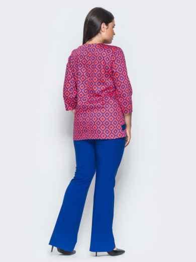 Оранжево-синий комплект с расклешенными брюками - 14473, фото 4 – интернет-магазин Dressa