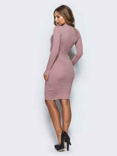 8d60a3107d3e Розовое трикотажное платье в рубчик с длинными рукавами - 15917, фото 2 –  интернет-
