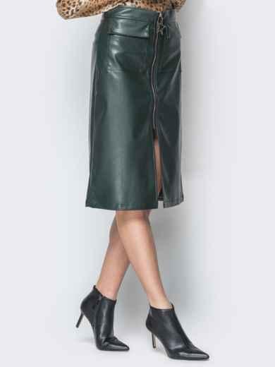 Зелёная юбка из эко-кожи с накладными карманами - 19623, фото 2 – интернет-магазин Dressa