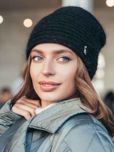 Двойная шапка черного цвета с люрексом  55342, фото 1