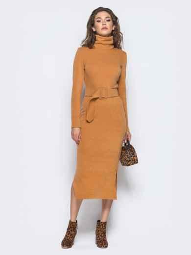 Платье-гольф горчичного цвета из мягкой ангоры 16234, фото 1