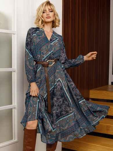 Бирюзовое платье с принтом и юбкой-полусолнце 52664, фото 1