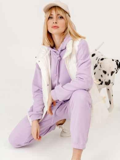 Фиолетовый костюм из худи и штанов на резинке 53255, фото 1