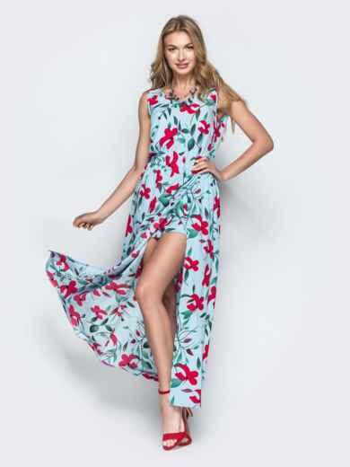 Голубое платье-макси с принтом и разрезом 38678, фото 1