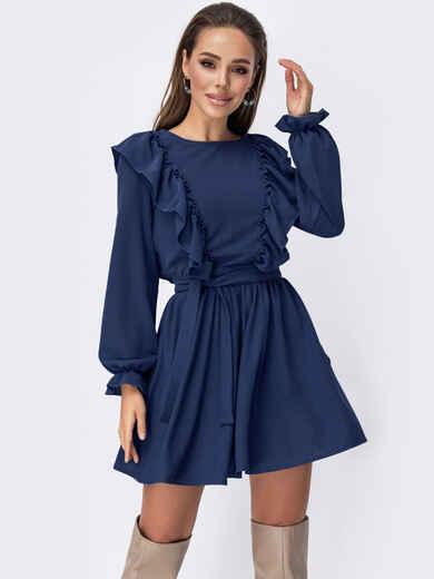 Короткое платье с рюшами по бокам темно-синее 53679, фото 1