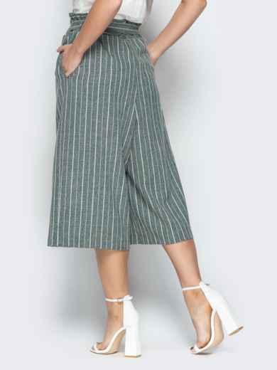 Льняные брюки-кюлоты в полоску на резинке бутылка - 21087, фото 2 – интернет-магазин Dressa