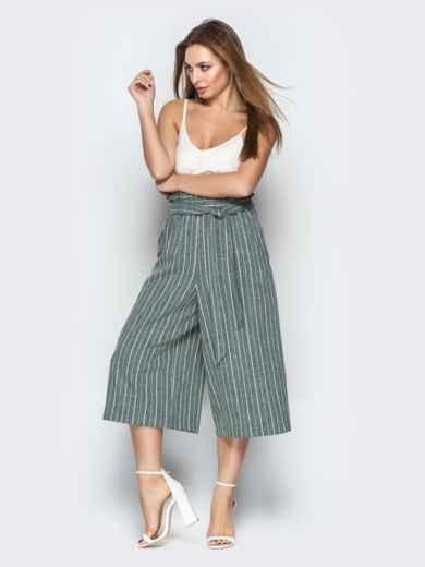 Льняные брюки-кюлоты в полоску на резинке бутылка - 21087, фото 3 – интернет-магазин Dressa