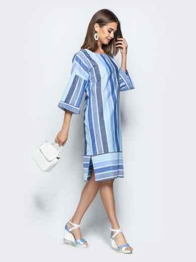 Оригинальное платье oversize в полоску с карманами голубое - 21928, фото 2 – интернет-магазин Dressa