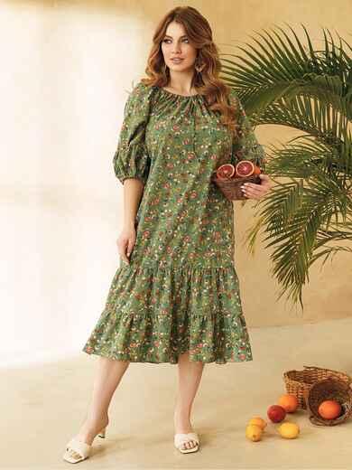 Платье батал цвета хаки с горловиной на кулиске 53820, фото 1