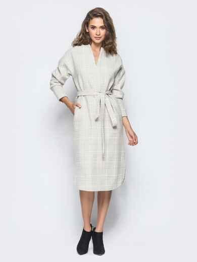 Платье пастельного цвета в клетку с карманами - 16229, фото 1 – интернет-магазин Dressa