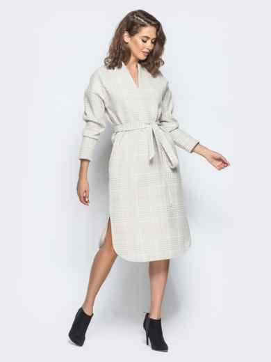 Платье пастельного цвета в клетку с карманами - 16229, фото 2 – интернет-магазин Dressa