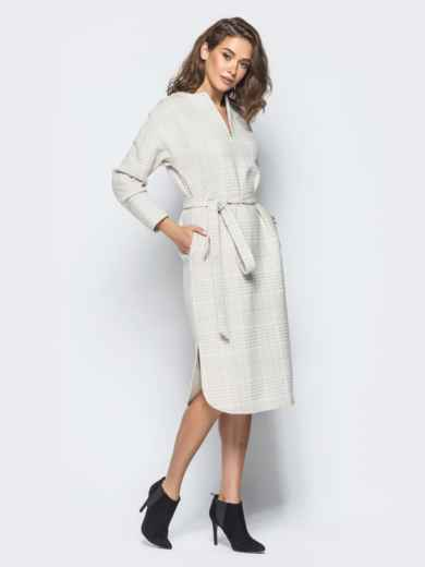 Платье пастельного цвета в клетку с карманами - 16229, фото 3 – интернет-магазин Dressa