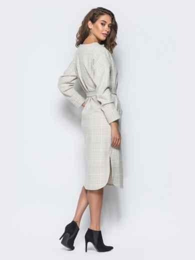 Платье пастельного цвета в клетку с карманами - 16229, фото 4 – интернет-магазин Dressa