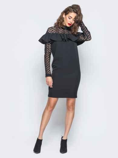 Платье с оборкой на груди и кружевными вставками черное - 16227, фото 2 – интернет-магазин Dressa