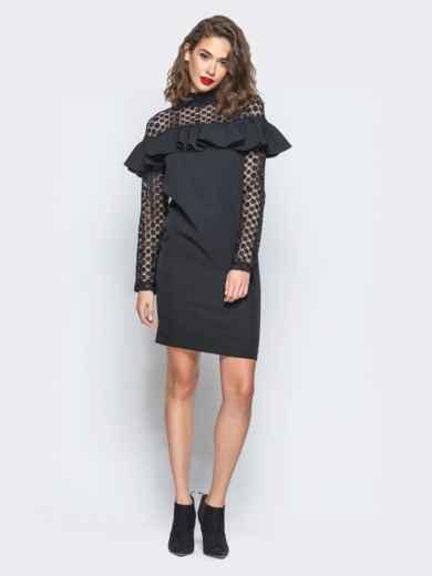 Платье с оборкой на груди и кружевными вставками черное - 16227, фото 3 – интернет-магазин Dressa