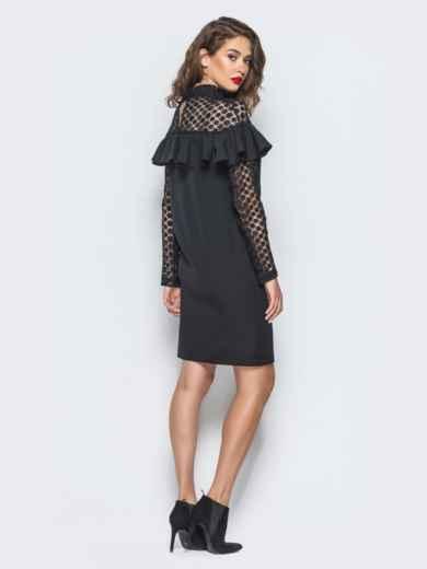 Платье с оборкой на груди и кружевными вставками черное - 16227, фото 4 – интернет-магазин Dressa