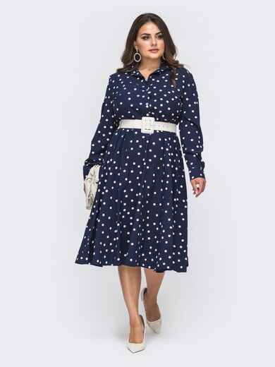 Расклешенное платье-рубашка батал из софта темно-синее 50919, фото 1
