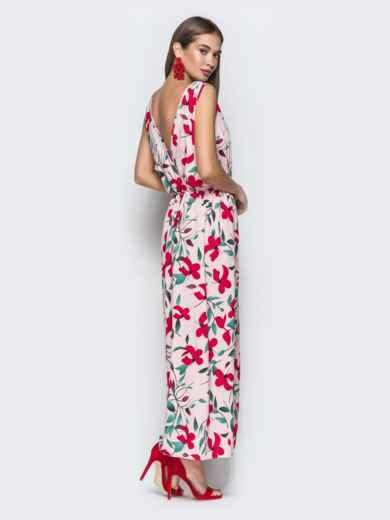 Розовое платье-макси с принтом и разрезом 38677, фото 3