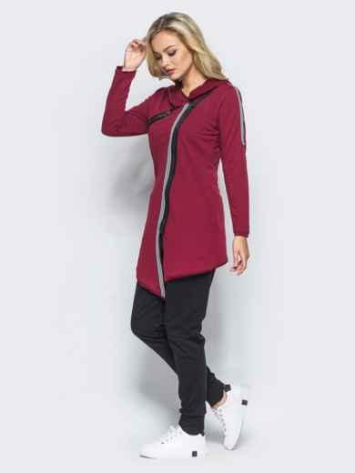 Спортивный костюм с косой молнией на бордовой кофте - 15762, фото 2 – интернет-магазин Dressa
