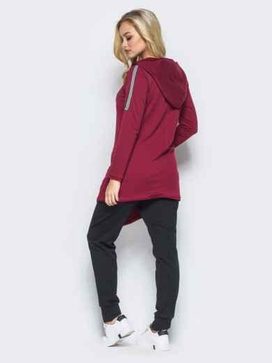 Спортивный костюм с косой молнией на бордовой кофте - 15762, фото 3 – интернет-магазин Dressa