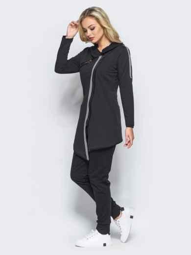 Спортивный костюм с косой молнией на черной кофте - 15761, фото 2 – интернет-магазин Dressa