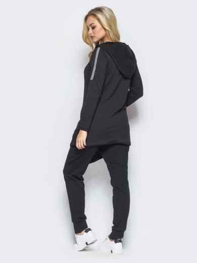 Спортивный костюм с косой молнией на черной кофте - 15761, фото 3 – интернет-магазин Dressa
