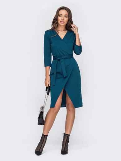 Зелёное платье на запах с поясом 53323, фото 1