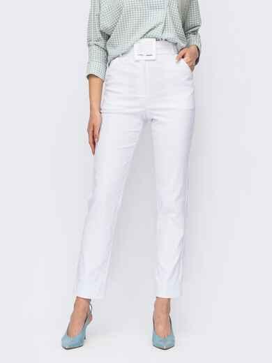 Белые зауженные брюки с поясом из основной ткани 53976, фото 1