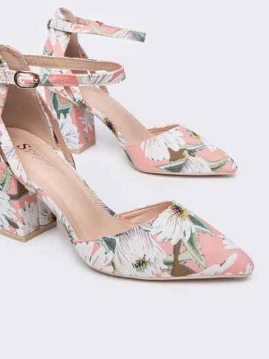 Босоножки с цветочным принтом на каблуке розовые - 47524, фото 3 – интернет-магазин Dressa