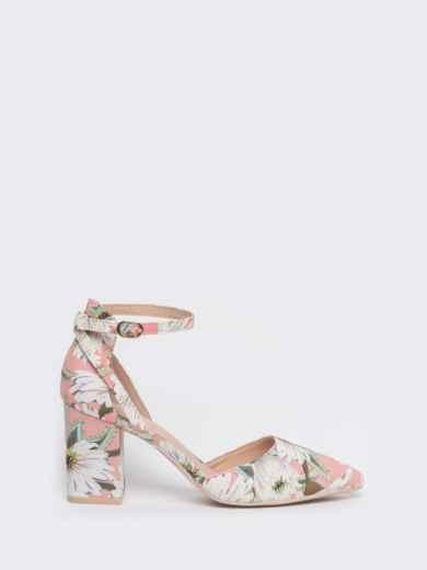 Босоножки с цветочным принтом на каблуке розовые - 47524, фото 4 – интернет-магазин Dressa