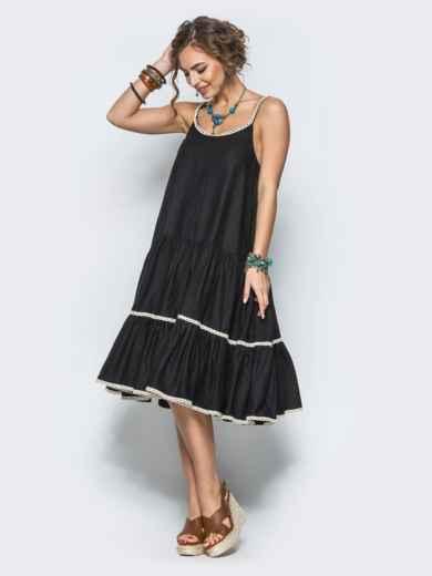 Черное льняное платье с оборкой по низу и кружевом - 12573, фото 3 – интернет-магазин Dressa