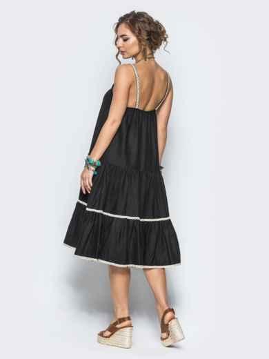 Черное льняное платье с оборкой по низу и кружевом - 12573, фото 4 – интернет-магазин Dressa